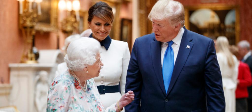 Donald Trump and his wife Melania with the Queen on the first day of their state visit
